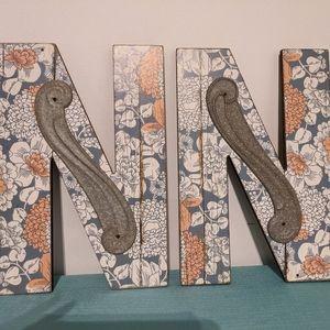 FINAL! Wood Letter NEW Blue Floral